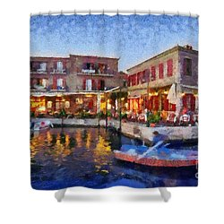 Molyvos Town In Lesvos Island Shower Curtain by George Atsametakis
