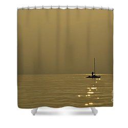 Sailing Boat Shower Curtain by Mats Silvan