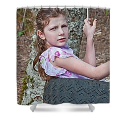 9 Year Old Caucasian Girl In Tire Swing Shower Curtain