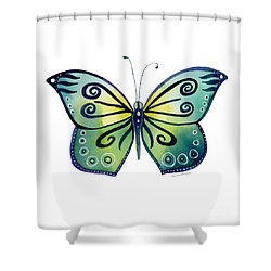 92 Teal Button Cap Butterfly Shower Curtain by Amy Kirkpatrick