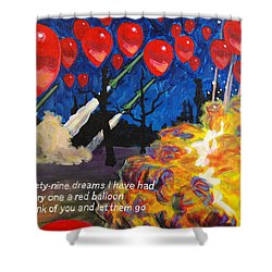 99 Red Balloons Shower Curtain