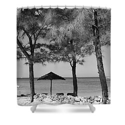 A Bahamas Scene In Black And White Shower Curtain