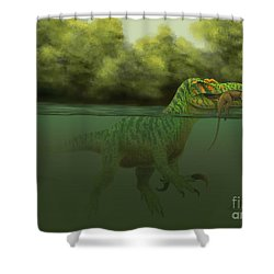 A Baryonyx Escapes Swimming Shower Curtain by Alvaro Rozalen