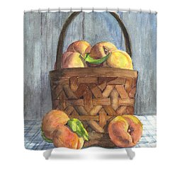 A Basket Of Peaches Shower Curtain by Carol Wisniewski