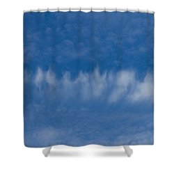 Shower Curtain featuring the photograph A Batch Of Interesting Clouds In A Blue Sky by Eti Reid