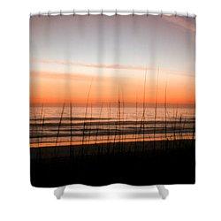 A Beachwork Orange Shower Curtain