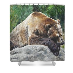 A Bear Of A Prayer Shower Curtain by Lori Brackett