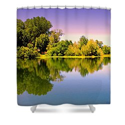 A Beautiful Day Reflected Shower Curtain by Joyce Dickens