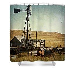 A Beautiful Nebraska Sandhills Farm Shower Curtain by Priscilla Burgers