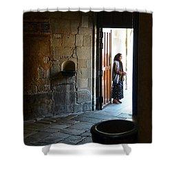 A Beggar At The Door Of A Church Shower Curtain by RicardMN Photography