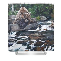Shower Curtain featuring the painting A Berry For Your Thoughts by Lori Brackett