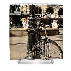 A Bicycle At Plaza Real Shower Curtain by RicardMN Photography