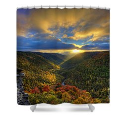 A Blue And Gold Sunset Shower Curtain