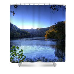 A Blue Lake In The Woods Shower Curtain by Jonny D