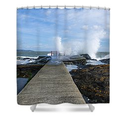 A Blustery Day At High Rock Shower Curtain by Martina Fagan