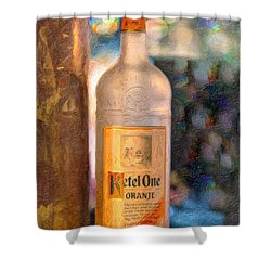 A Bottle Of Ketel One Shower Curtain by Angela A Stanton