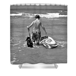 A Boy And His Dog Go Surfing Shower Curtain by Kristina Deane