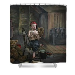 A Boy In The Attic With Old Relics Shower Curtain by Pete Stec