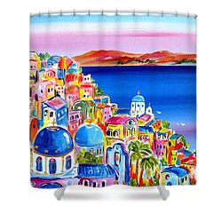 A Bright Day In Santorini Greece Shower Curtain