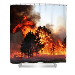 A Burst Of Flames From The White Draw Fire Shower Curtain