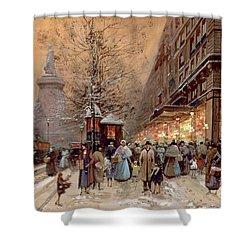 A Busy Boulevard Near The Place De La Republique Paris Shower Curtain by Eugene Galien-Laloue