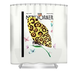 A Butterfly With A Cheetah Pattern Rests Shower Curtain