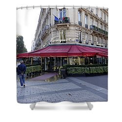 A Cafe On The Champs Elysees In Paris France Shower Curtain