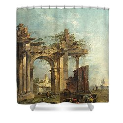 A Caprice With Ruins On The Seashore Shower Curtain