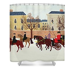 A Carriage Escorted By Police Shower Curtain by Vincent Haddelsey