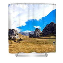 A Castle Hill Walk Shower Curtain by Stuart Litoff