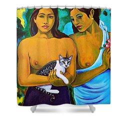 A Cat For Gauguin_ A Tahitian Feline Shower Curtain