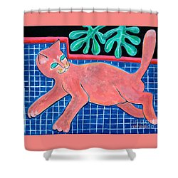A Cat For Matisse_ Large Reclining Kitty Shower Curtain