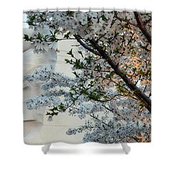 Shower Curtain featuring the photograph A Cherry Blossomed Martin Luther King by Cora Wandel