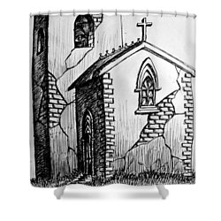 Shower Curtain featuring the painting Old Church by Salman Ravish