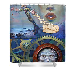 A Clockwerk Moone Is A Harsh Mistress Shower Curtain by Patrick Anthony Pierson