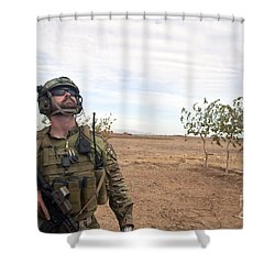 A Coalition Force Member Looks For Air Shower Curtain by Stocktrek Images