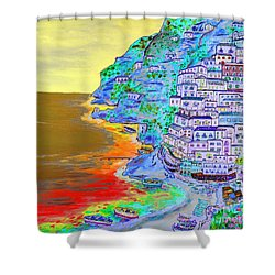 A Coastal View Of Positano Shower Curtain