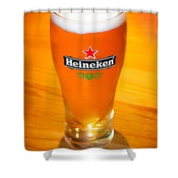 A Cold Refreshing Pint Of Heineken Lager Shower Curtain