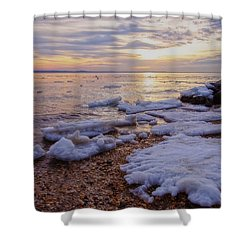 Shower Curtain featuring the photograph A Cold Sandy Hook Winter by Debra Fedchin