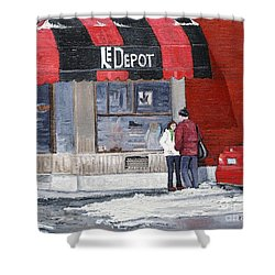 A Conversation Near Le Depot Shower Curtain by Reb Frost