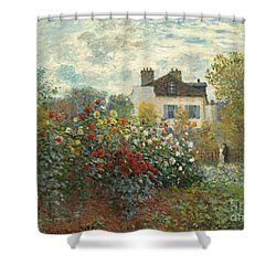 A Corner Of The Garden With Dahlias Shower Curtain