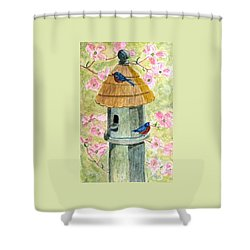 A Cottage For Two Shower Curtain by Angela Davies