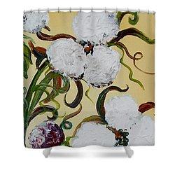 A Cotton Pickin' Couple Shower Curtain by Eloise Schneider