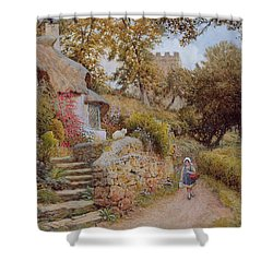 A Country Lane Shower Curtain by Arthur Claude Strachan
