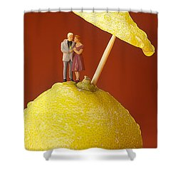 Shower Curtain featuring the painting A Couple In Lemon Rain Little People On Food by Paul Ge