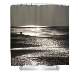 A Couple On A Deserted Beach Shower Curtain