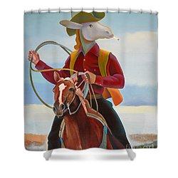 A Cowboy Shower Curtain by Jukka Nopsanen