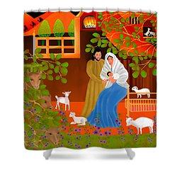 A Cradle In Bethlehem Shower Curtain by Latha Gokuldas Panicker