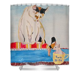 Shower Curtain featuring the painting A Cup Of Chihuahua by Phyllis Kaltenbach