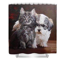 A Cute Couple - Custom Pet Portrait Shower Curtain